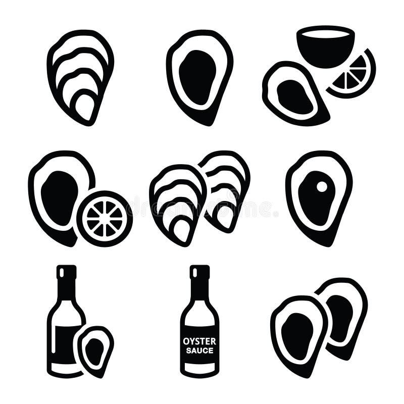 Ostrygi skorupa, kumberland - dennego jedzenia ikony ustawiać ilustracja wektor