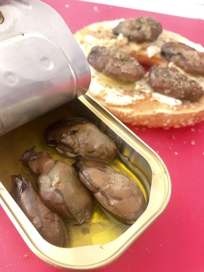 Ostrygi w puszkach z wytłoczonym workiem obraz stock