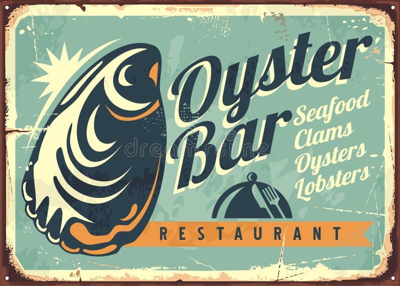 Ostrygowego baru kreatywnie retro szyldowy projekt royalty ilustracja