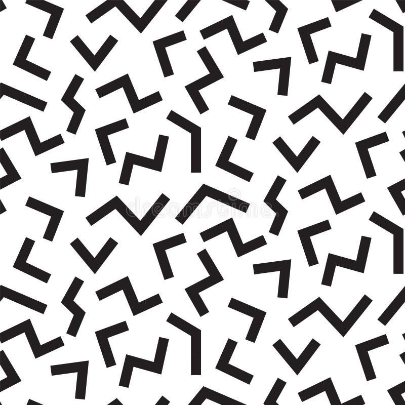 OSTRZĄCY linii MEMPHIS STYLOWY BEZSZWOWY wzór GEOMETRYCZNA element tekstura 80S-90S projekt NA BIAŁYM tle royalty ilustracja
