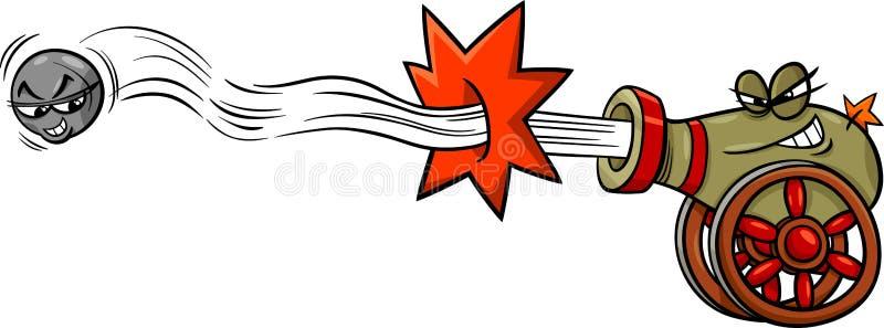 Ostrzału działo i cannonball kreskówka ilustracji