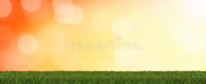 Ostrza trawa 3d-illustration przed pomarańczowym tłem 3d-illustration ilustracja wektor