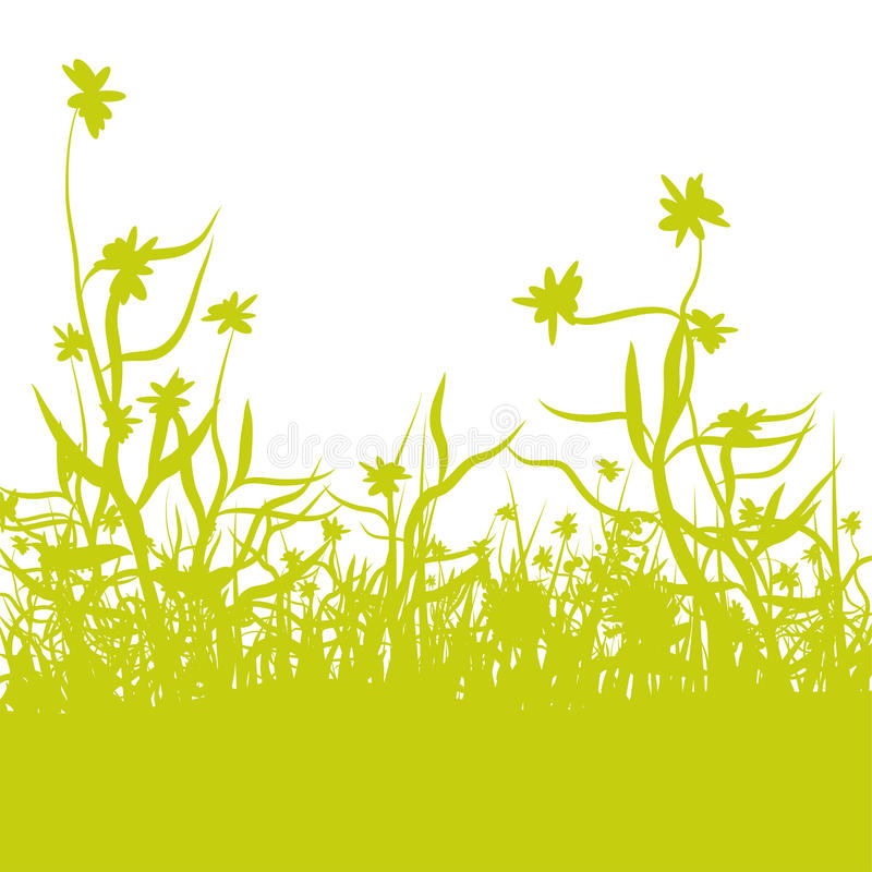 Ostrza trawa i kwiaty ilustracja wektor