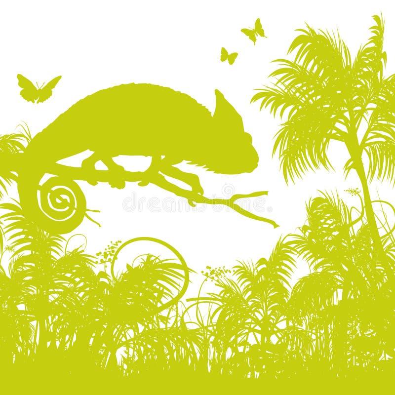 Ostrza trawa z kameleonem ilustracja wektor