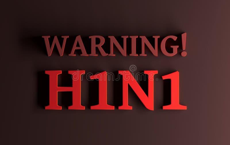 Ostrzeżenie! H1N1 Prosty pojęcie dla grypowego wirusowego wybuchu ilustracji