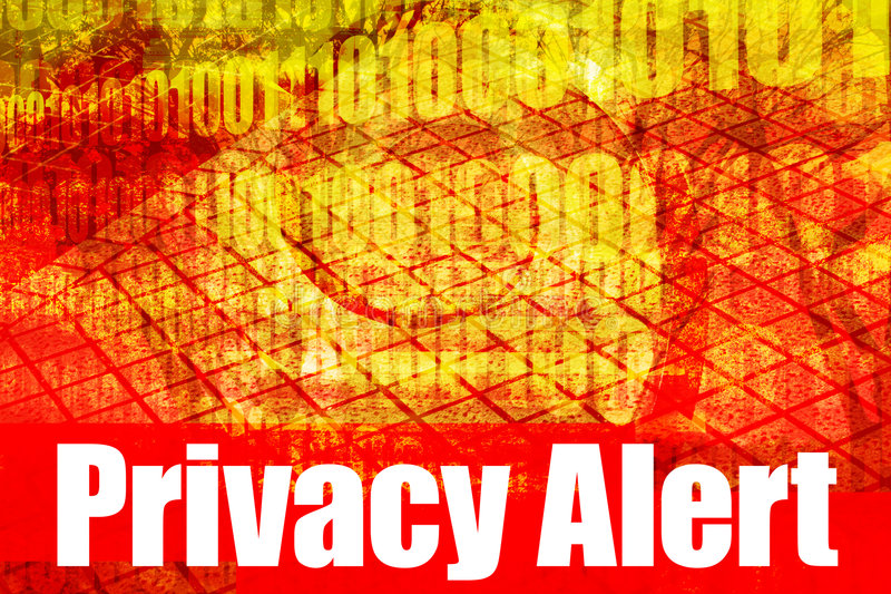 ostrzeżenie jest ostrzeżenie prywatności wiadomości ilustracja wektor