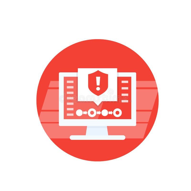 Ostrzeżenie o zabezpieczeniach, ikona wektora alertów ilustracji