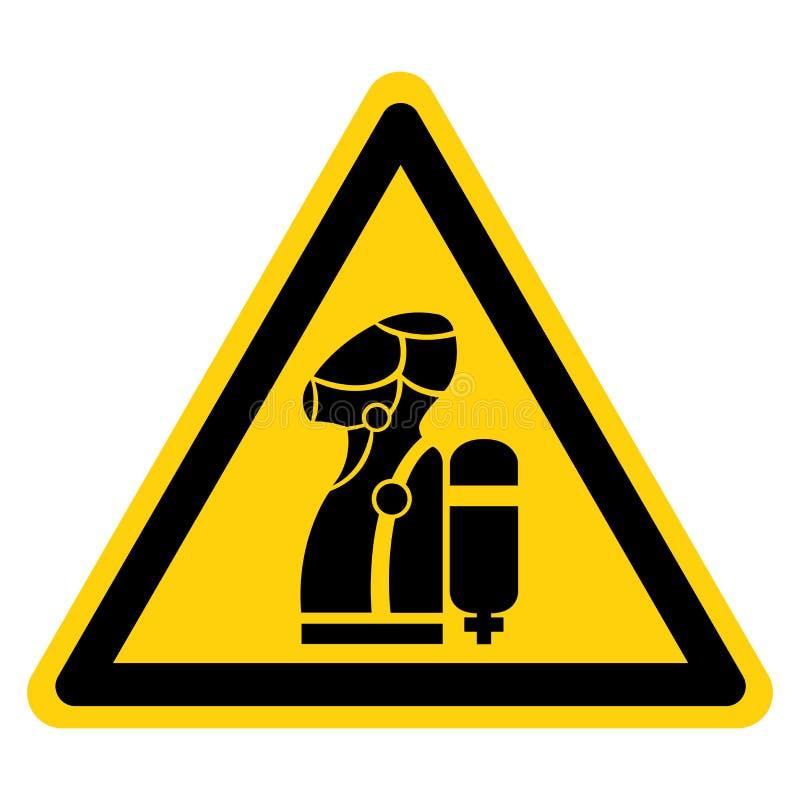 Ostrzeżenie: Znak symbolu SCBA, Ilustracja wektorowa, Izolacja na białej etykiecie tła EPS10 ilustracji