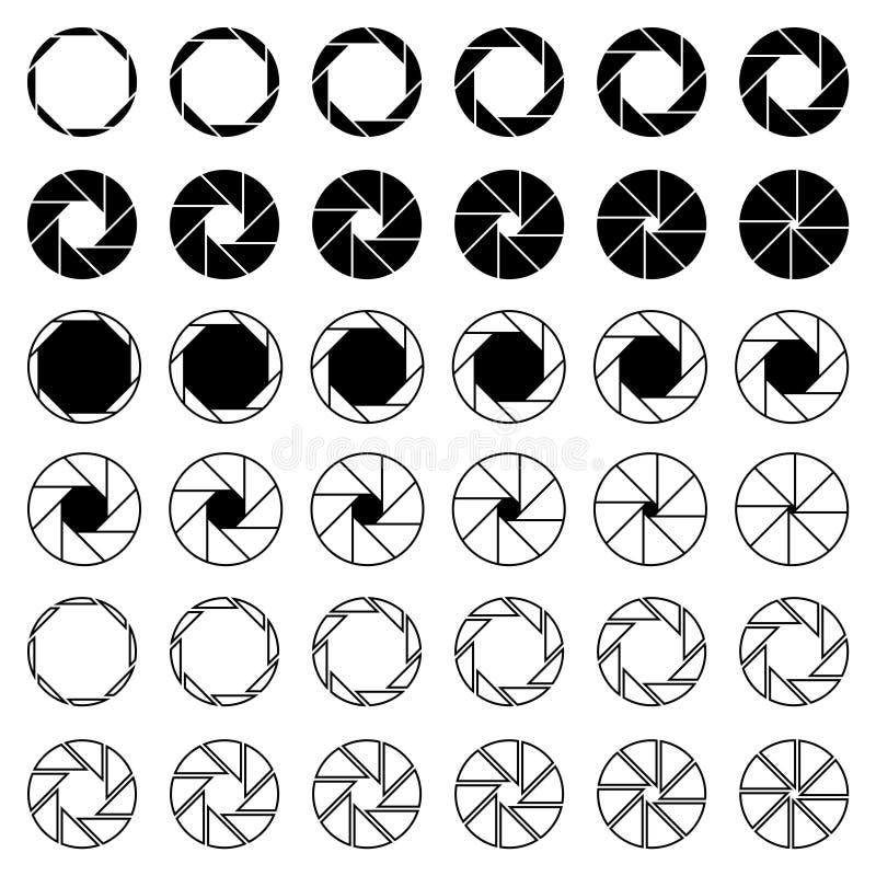 8 ostrze kamery apertury żaluzi ikon ilustracja wektor