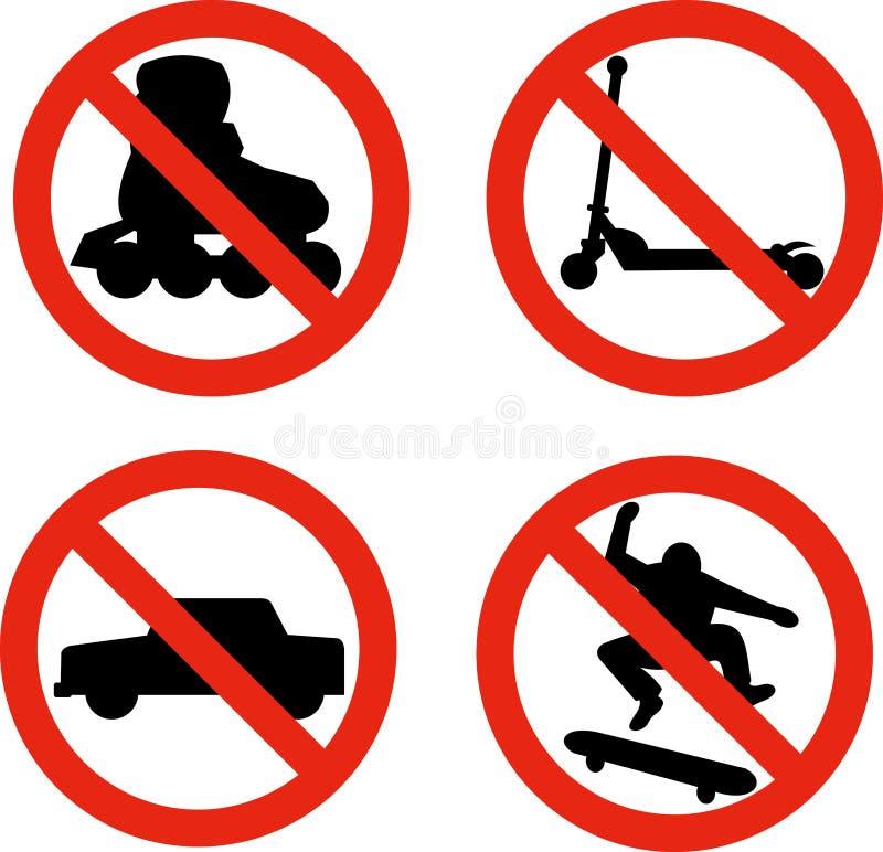 ostrze samochód hulajnoga żadna rolkowa łyżwiarka ilustracja wektor