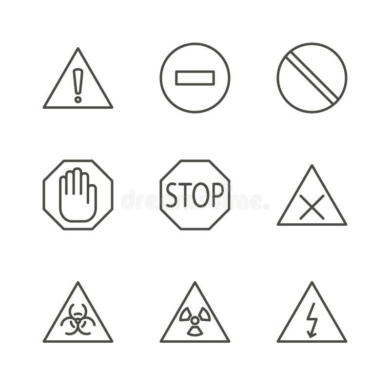 Ostrzegać ustalonego ikona wektor Kreskowy ostrożność symbol odizolowywający Modny płaski konturu ui znaka projekt Cienki Lin royalty ilustracja