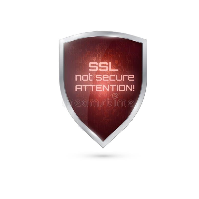ostrzegawcza ikona SSL związek Bezpiecznie ilustracja wektor