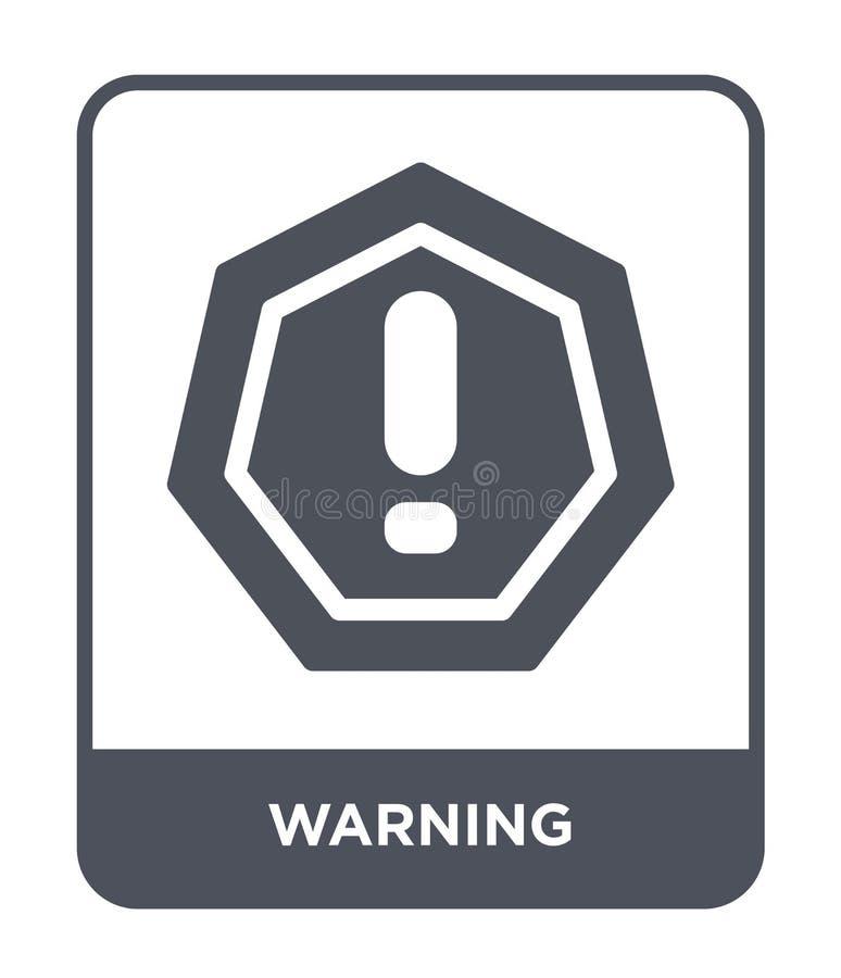 ostrzegawcza ikona w modnym projekta stylu Ostrzegawcza ikona odizolowywająca na białym tle ostrzegawczej wektorowej ikony prosty ilustracji