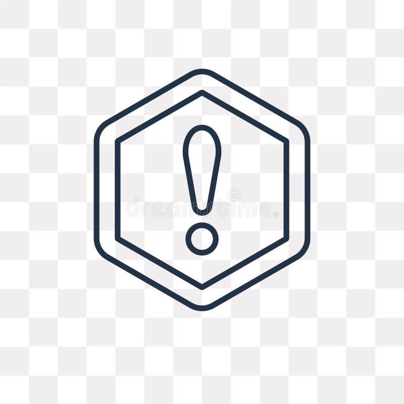 Ostrzegawcza wektorowa ikona odizolowywająca na przejrzystym tle, liniowy W ilustracji