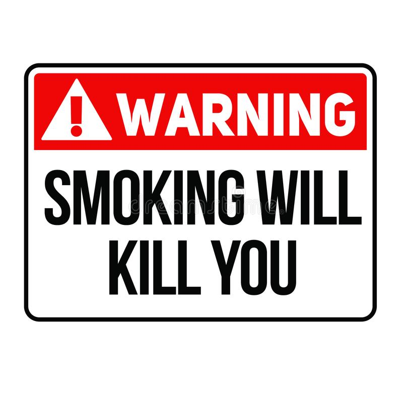 Ostrzegawczy dymienie zabija ciebie znak ostrzegawczy ilustracja wektor