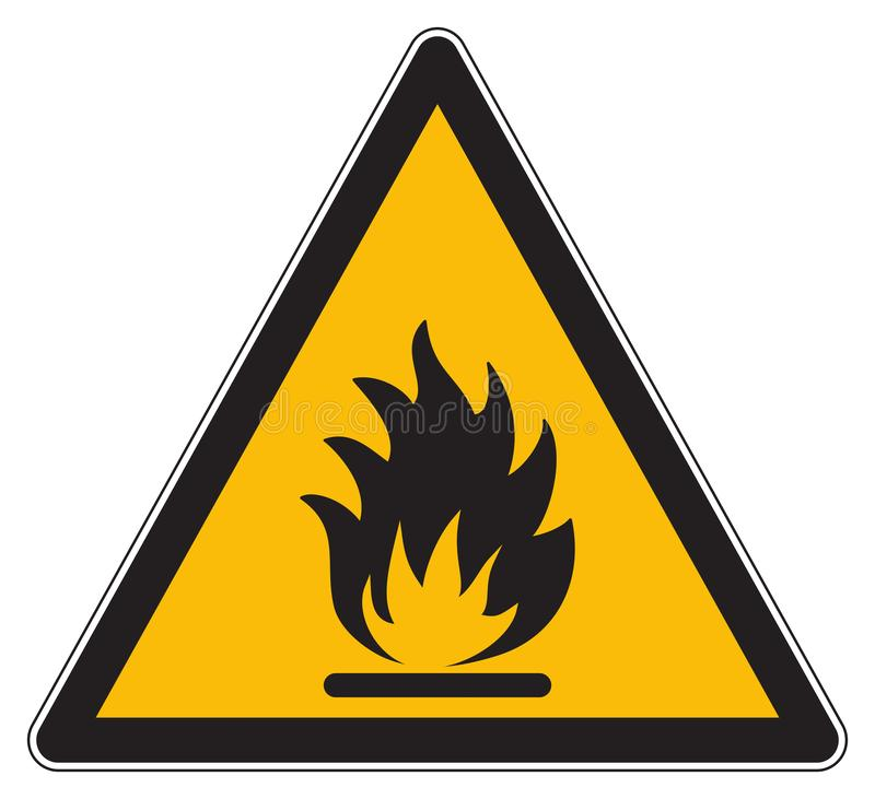 Ostrzegawczy flammable produktu koloru żółtego znak royalty ilustracja