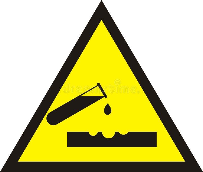 Ostrzegawczy kwasu znak Trójbok chemii żółty majcher Próbna tubka ilustracja wektor