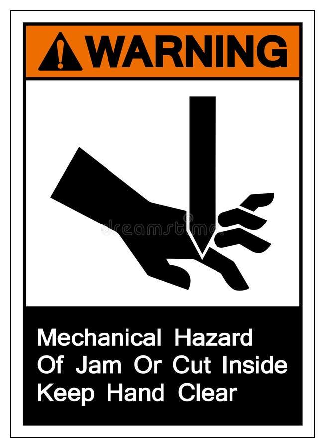 Ostrzegawczy Machinalny zagrożenie dżem lub cięcie wśrodku utrzymanie ręki jasnego symbolu znaka, Wektorowa ilustracja, Odizolowy royalty ilustracja