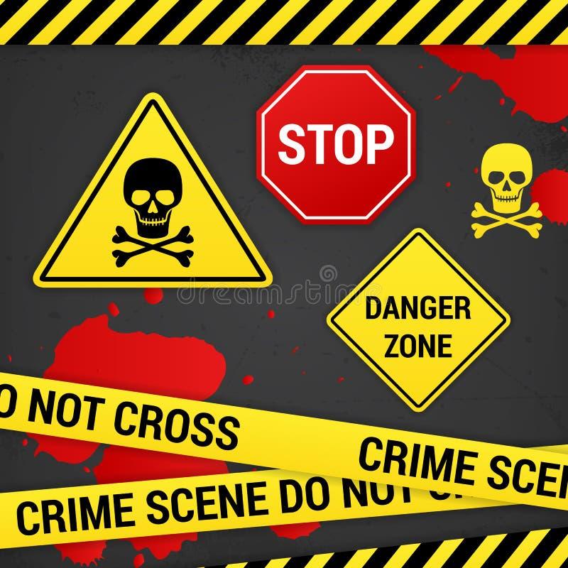Ostrzegawczy niebezpieczeństwa przestępstwa znaki na ośniedziałym tle ilustracja wektor