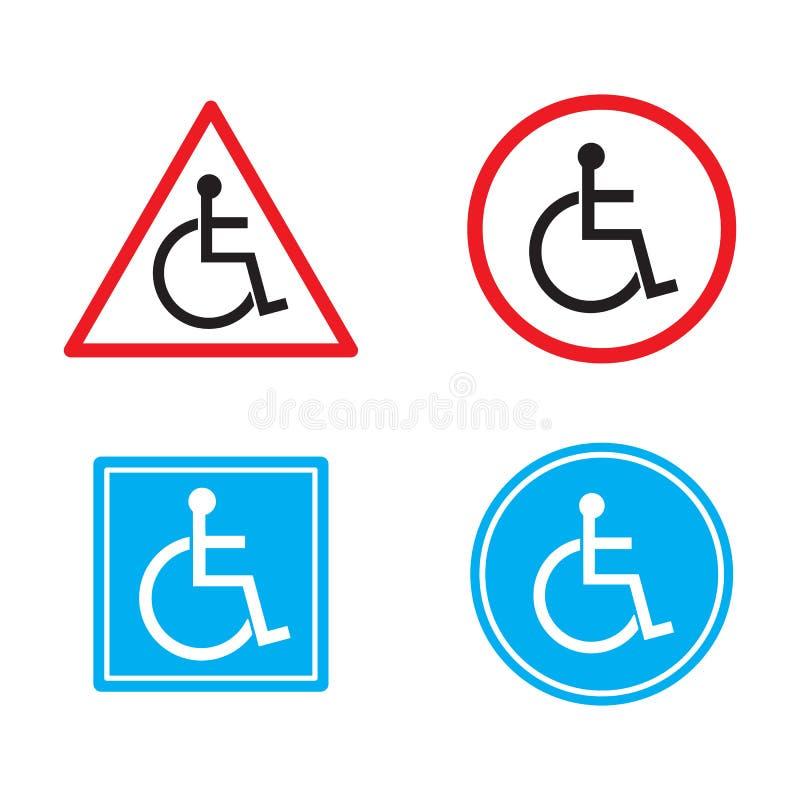 Ostrzegawczy niepełnosprawni podpisują płaskiego symbolu wektorową ikonę ustawiającą odizolowywającą na białym tle ilustracja royalty ilustracja