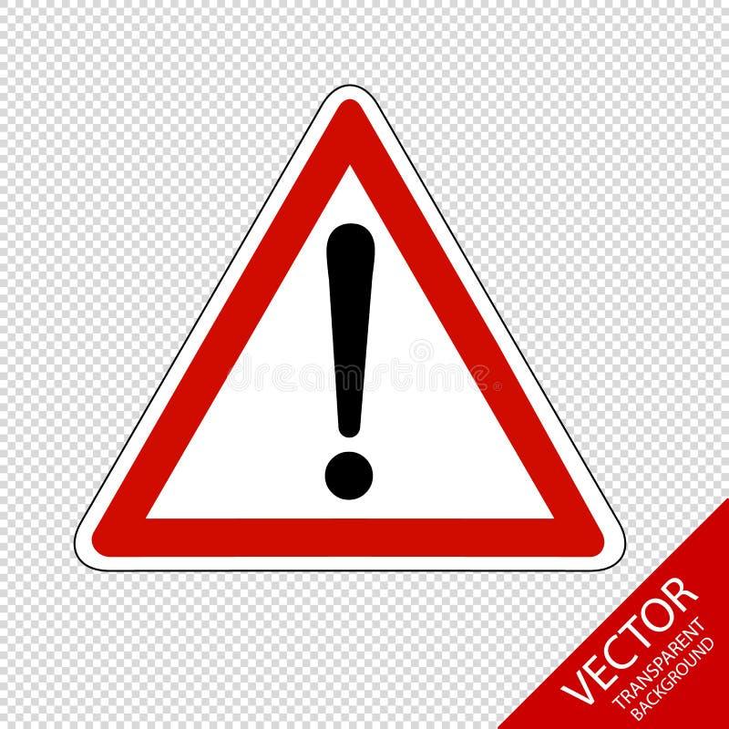 Ostrzegawczy ostrożność znak Odizolowywający Na Przejrzystym tle - Wektorowa ilustracja - royalty ilustracja