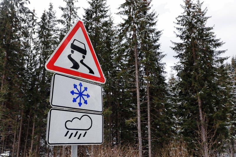 Ostrzegawczy ruchów drogowych znaki zbliżają lasową drogę zdjęcie stock