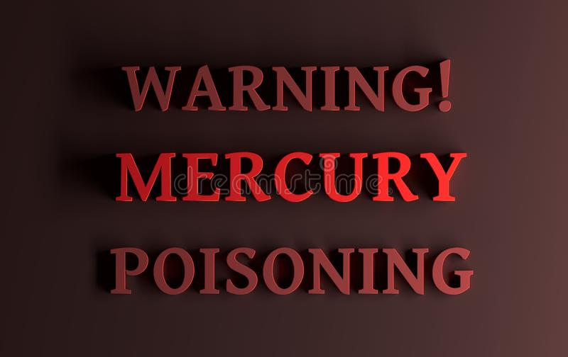 Ostrzegawczy tekst z słowa Mercury otruciem royalty ilustracja