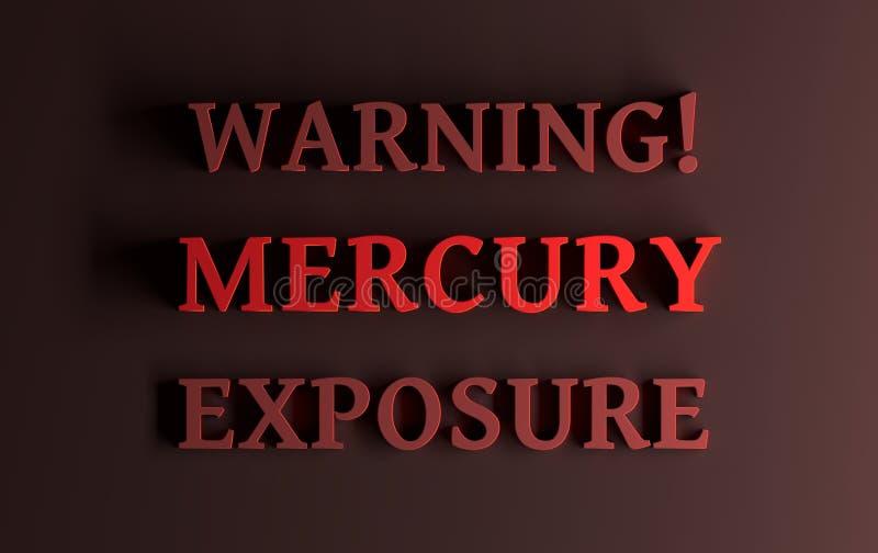 Ostrzegawczy tekst z słowa Mercury otruciem ilustracja wektor