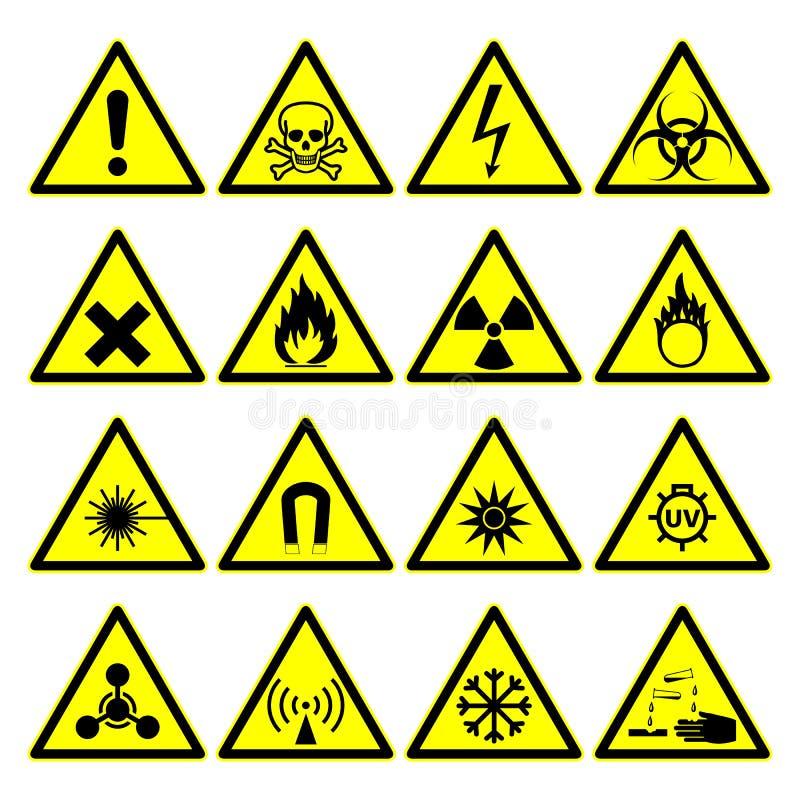 Ostrzegawczy zagrożenie znaki, niebezpieczeństwo symbole inkasowi ilustracja wektor