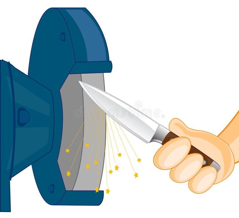 Ostrzyć nóż na narzędziu ilustracji