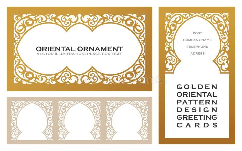 Ostsatzgoldlinie Rahmen für Designschablone Elementkunst im orientalischen Artentwurf mit Blumen stock abbildung