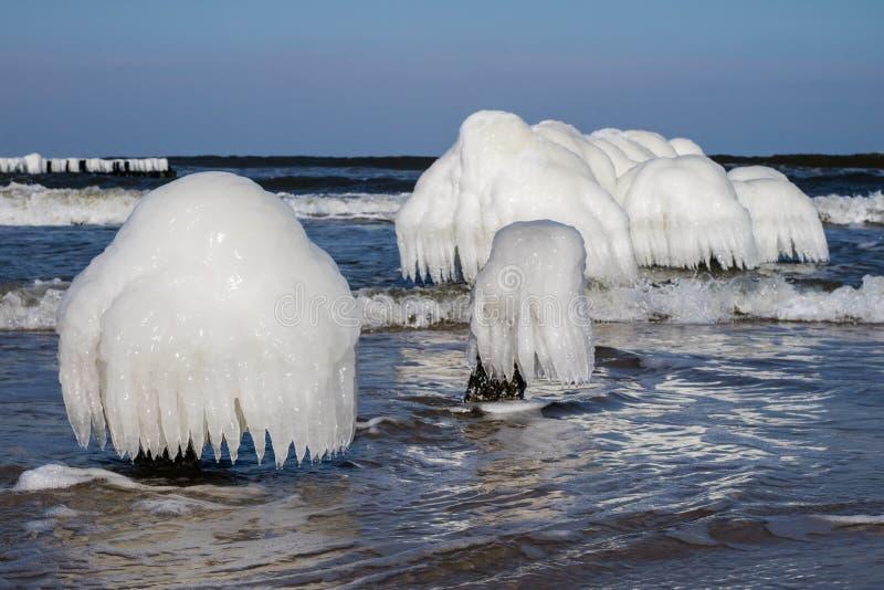 Ostsee in Polen Seeufer und falachron mit eisigem hölzernem PET stockfotografie