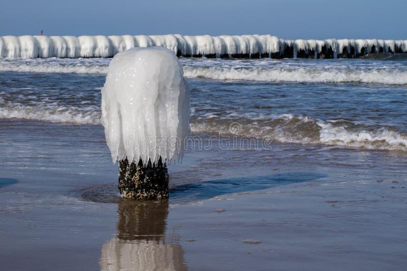 Ostsee in Polen Seeufer und falachron mit eisigem hölzernem PET stockbilder