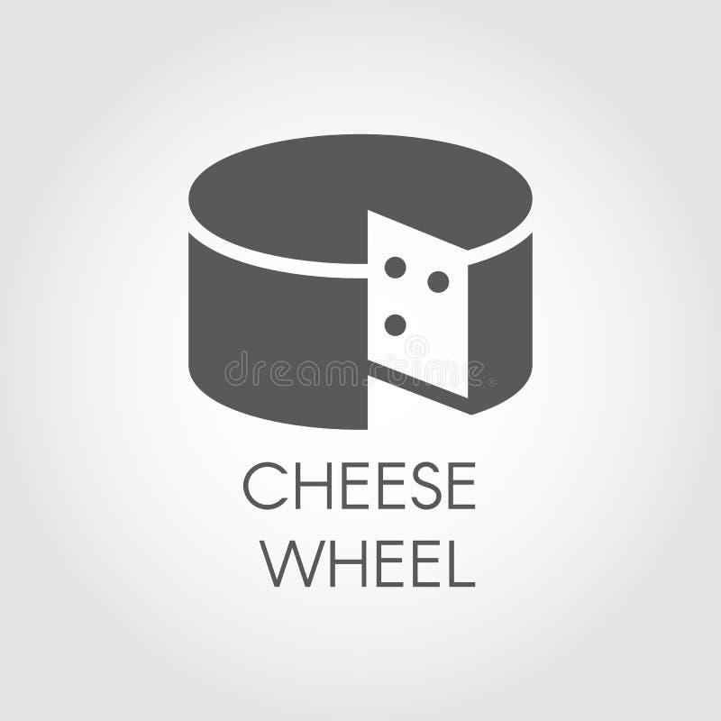 Ostskårasymbol Etikett för mejeriproduktsvartlägenhet Naturlig sund matlogo Vektorillustration för att laga mat tema royaltyfri illustrationer