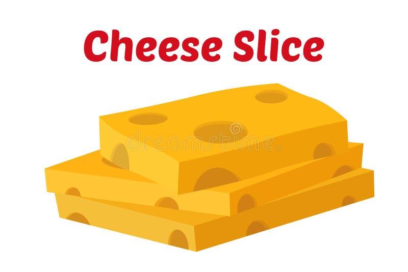Ostskivor, gulnar cheddar, mjölkar produkten Tecknad filmlägenhetstil vektor vektor illustrationer