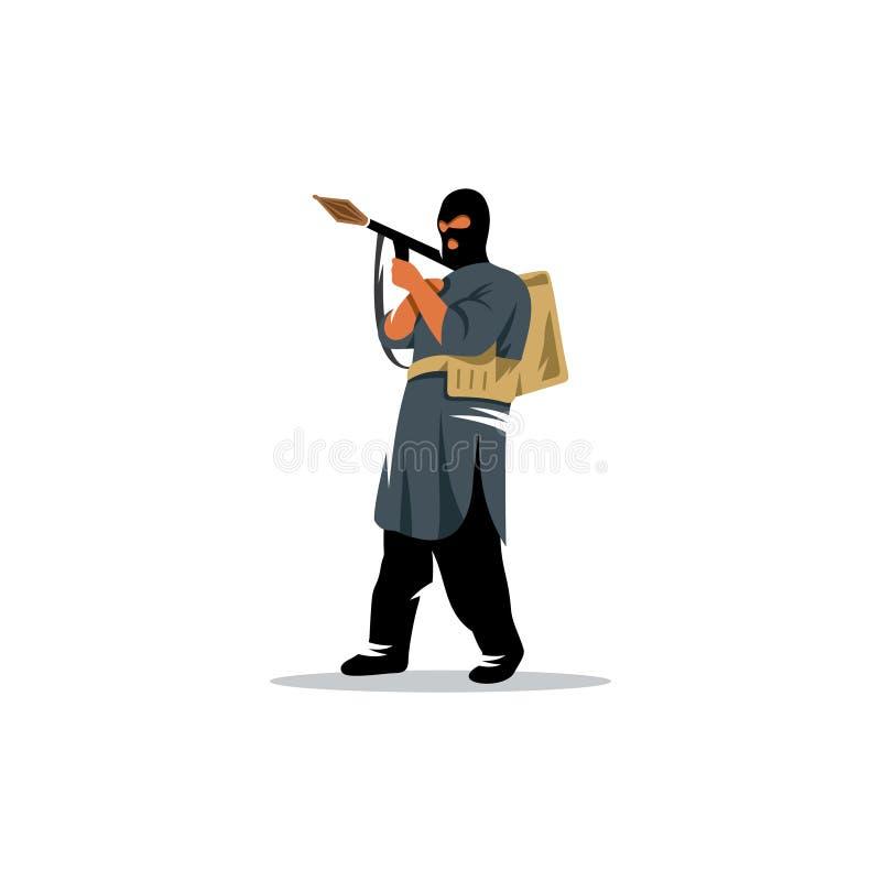 Ostsoldat mit einem Granatwerfer in seinen Händen Auch im corel abgehobenen Betrag lizenzfreie abbildung