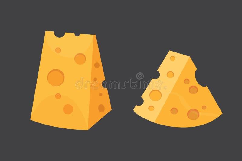 Ostsorter För vektorillustration för modern plan stil realistiska symboler nya parmesan eller cheddar royaltyfri illustrationer
