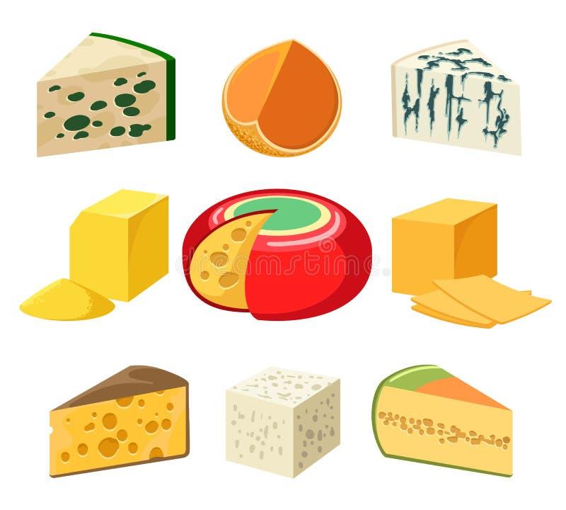 Ostsorter och skivor stock illustrationer