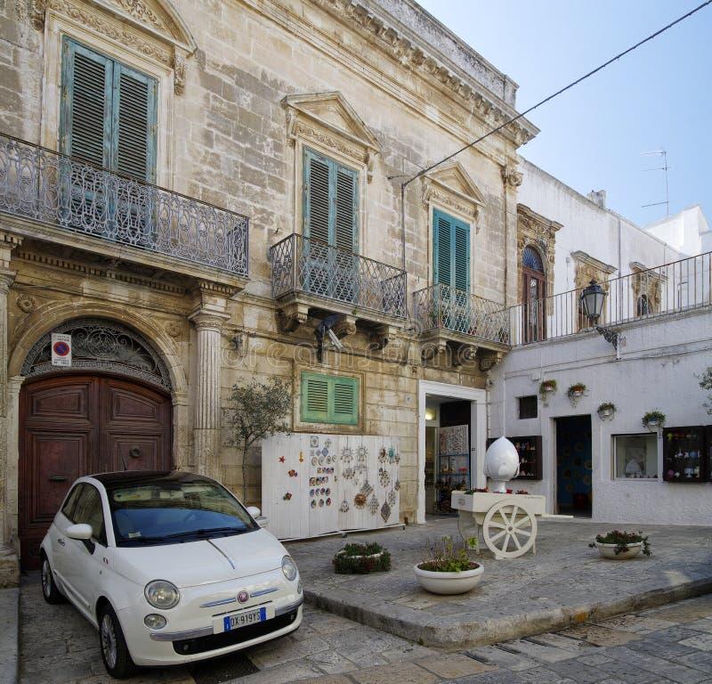 The small square in the center of Ostuni - the white city, Puglia, Italy stock photo