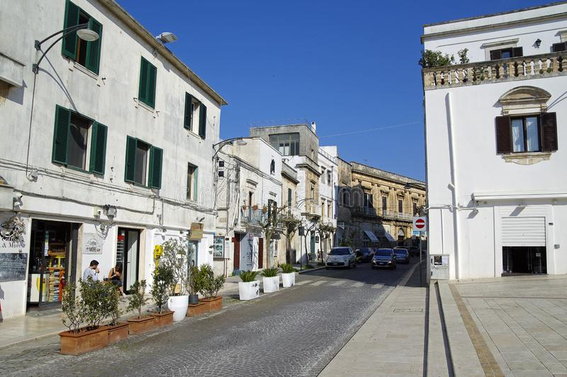 Typical street of Ostuni, La Citta Bianca. Ostuni. Apulia, Italy royalty free stock images