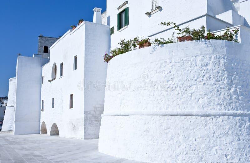 Ostuni, een wit dorp tussen de olijfgaard royalty-vrije stock foto