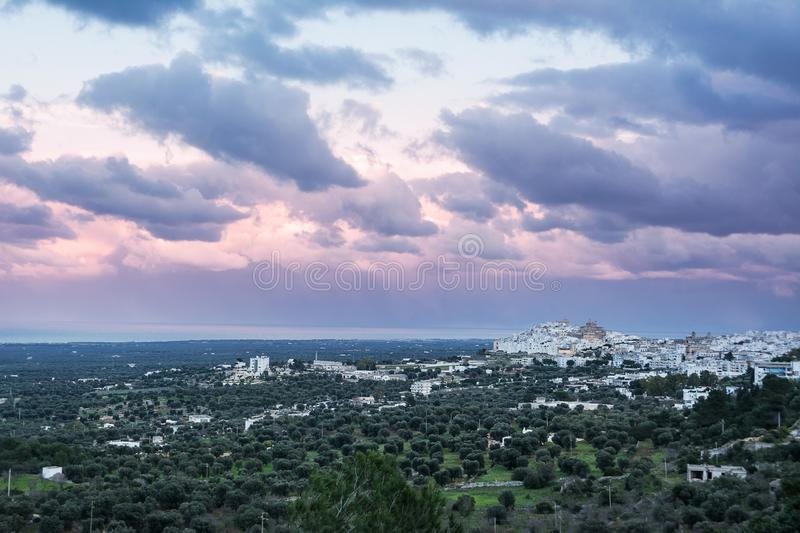 Ostuni and plantations of olive trees in Puglia at sunset Italy stock photos