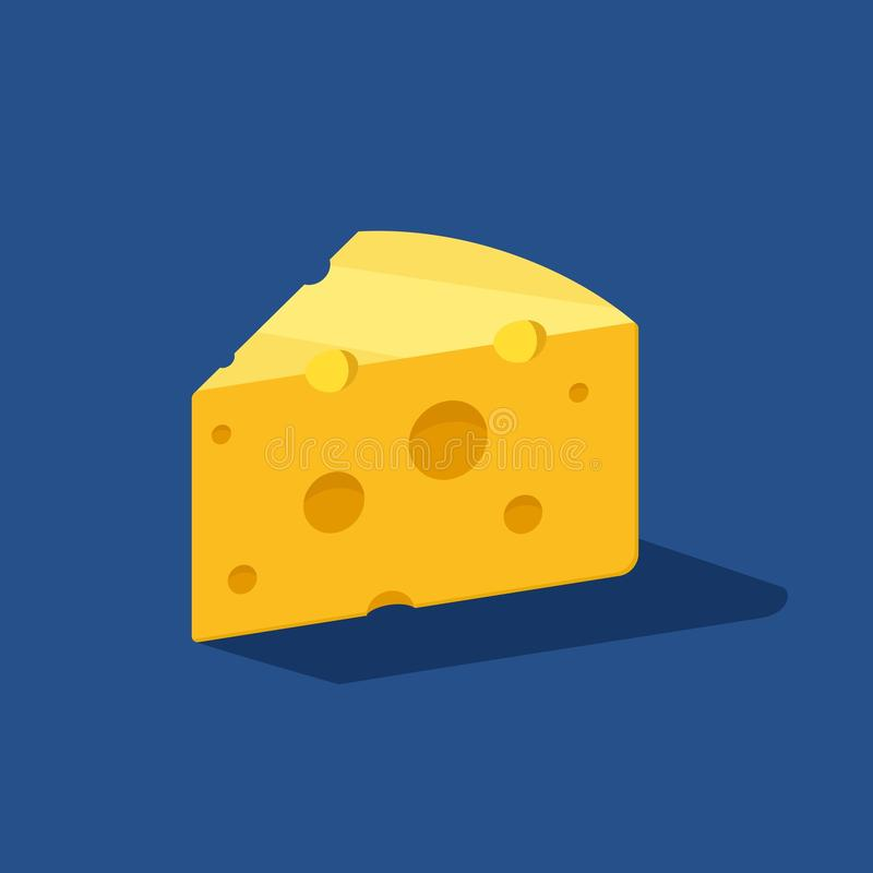 Ostvektorsymbol på blå bakgrund med skugga Gul cheddar mjölkar mat Frukost- eller mellanmålsymbol Bio eco vektor illustrationer
