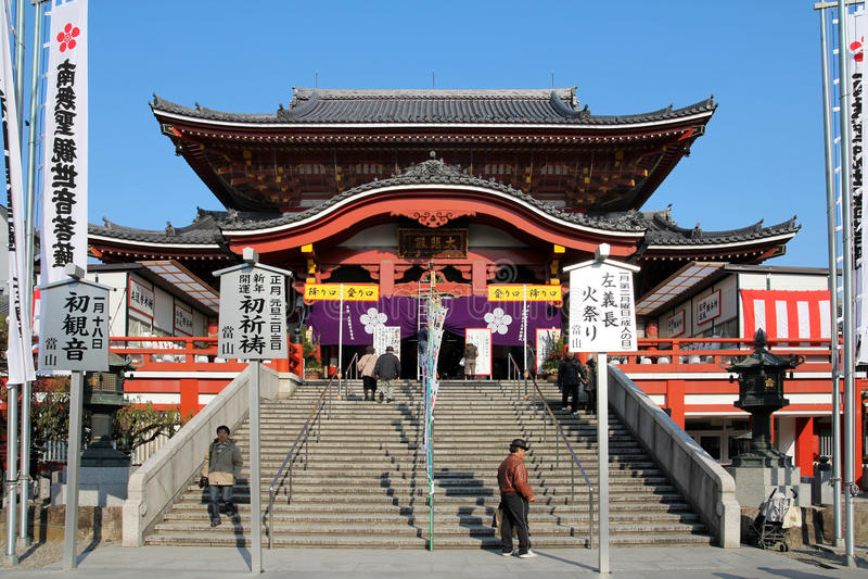 Osu Kanon Temple, Nagoya, Japan. NAGOYA, JAPAN - DECEMBER 29: Osu Kanon Temple in Nagoya, Japan preparing for 2012 New Year Celebration. Osu Kanon is a budhist stock photo