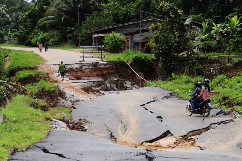 Osunięcie się ziemi żniwa flashflood w Kelantan, Malezja zdjęcia stock