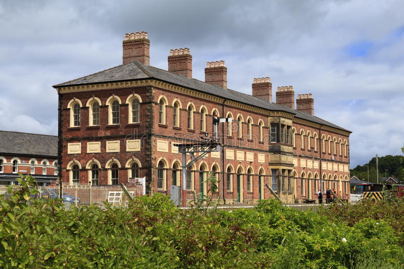 Oswestry railway station. The former railway station at Oswestry now partly used by the Cambrian Heritage Railway stock image