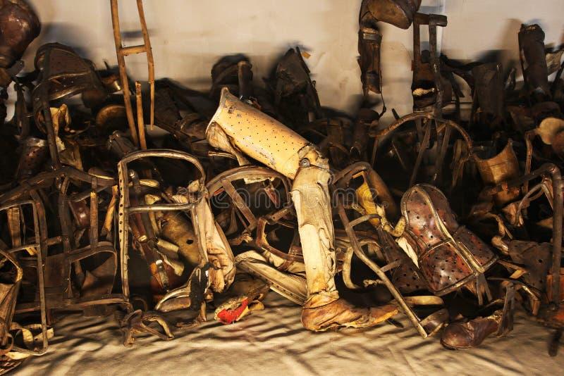 Oswiecim, Poland Auschwitz - prosthetic leg royalty free stock photo