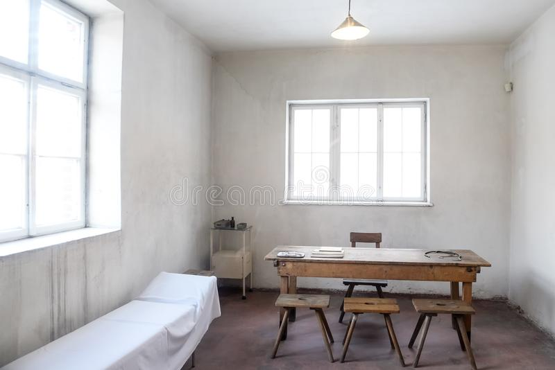 Oswiecim / Poland - 02.15.2018: Infirmary room in Auschwitz Concentration Camp Museum. Infirmary room in the original condition in Auschwitz Concentration Camp royalty free stock photography