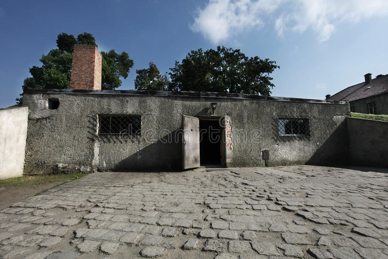 Oswiecim, Polen Auschwitz - Gaschamber stock afbeeldingen