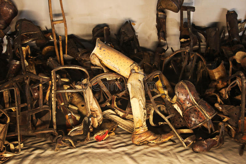 Oswiecim, Polen Auschwitz - prothetisch been royalty-vrije stock foto